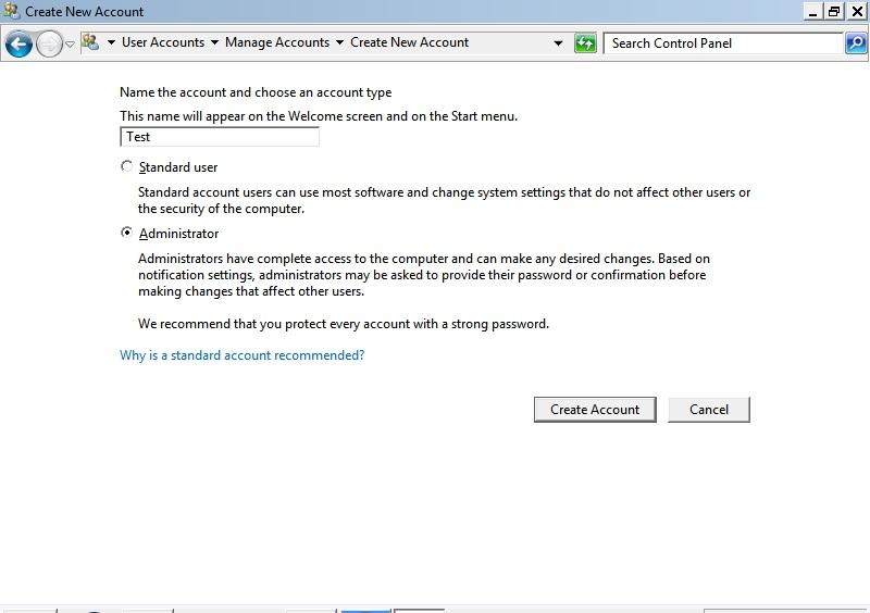 Create new admin account