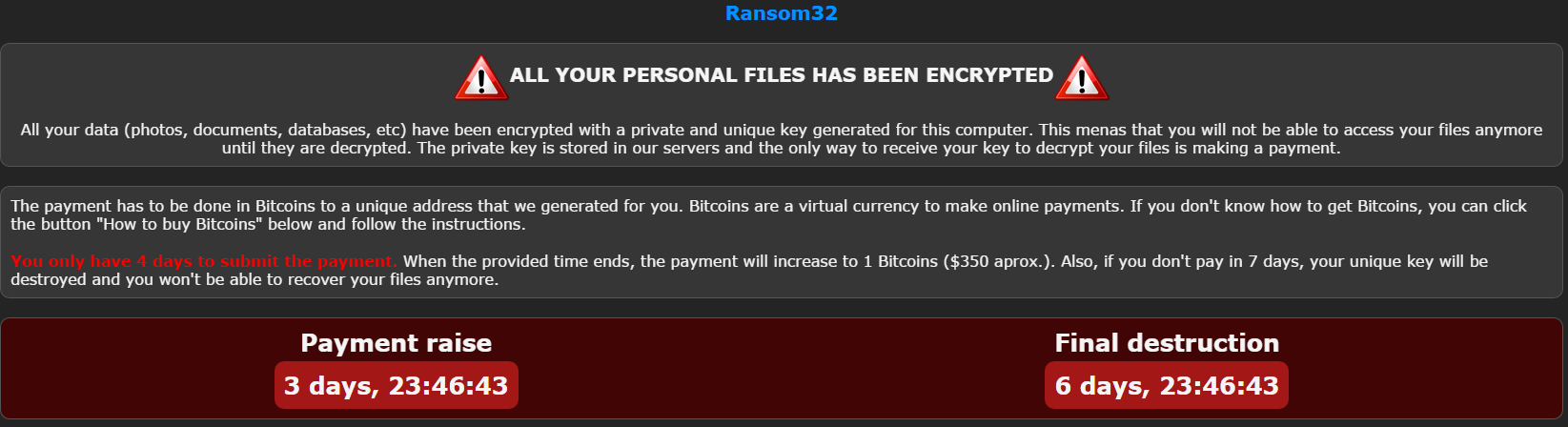 Ransom32 – A RaaS that could be used on multiple OS