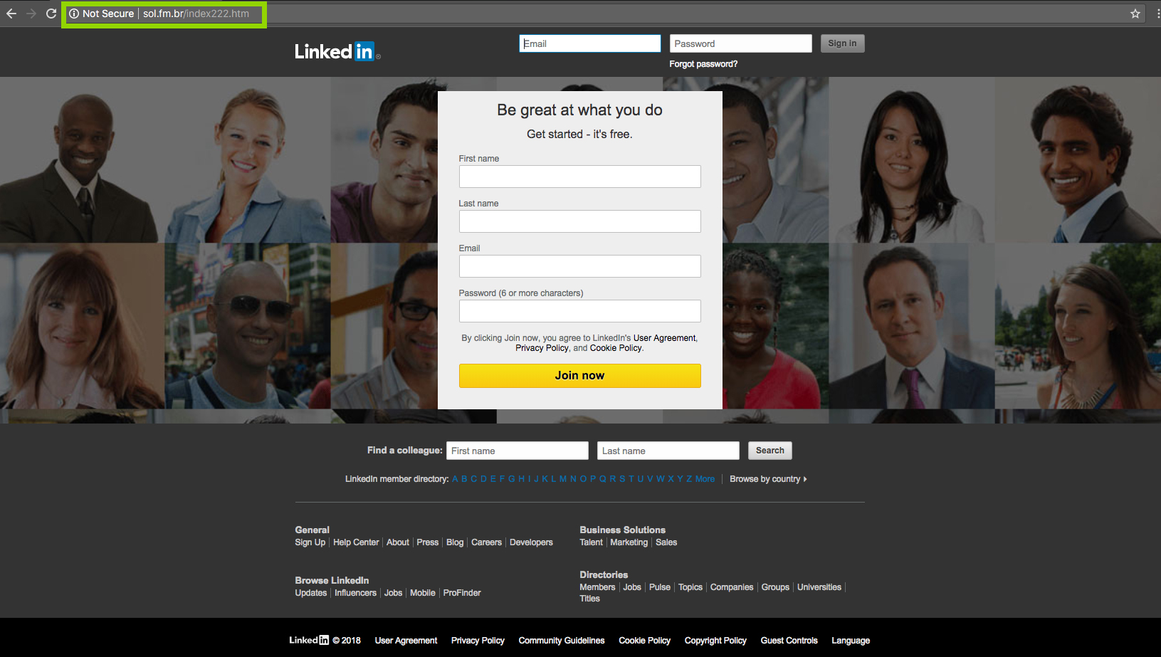 An example LinkedIn phishing site