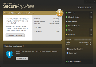 Webroot SecureAnywhere - Subscription ending soon